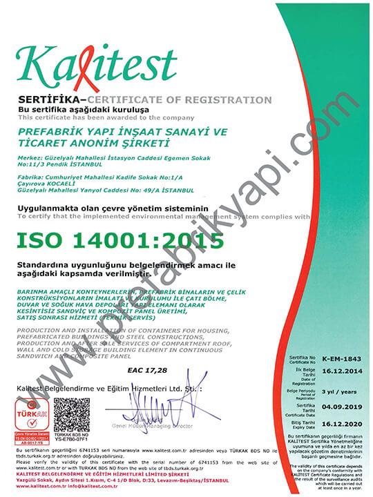 Certificat de Système de Gestion de l'Environnement