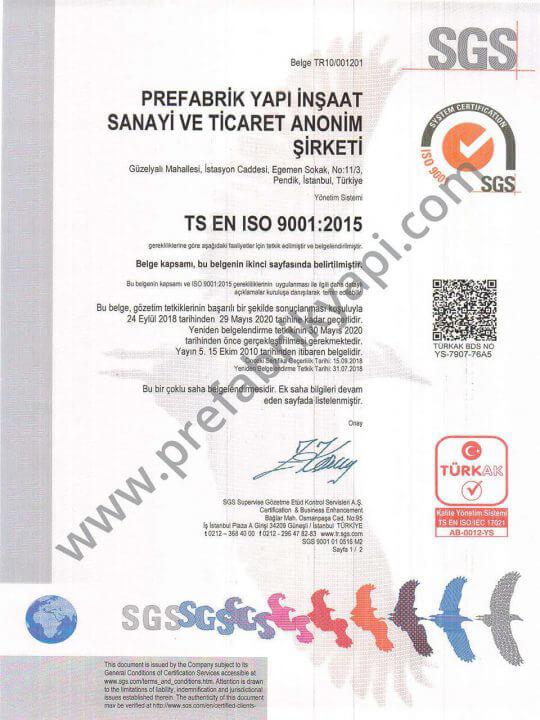 Certificat de Système de Gestion de la Qualité